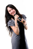 Karaoke singer on a white background. Stock Photos