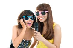 Karaoke singers Stock Photos