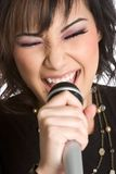 Karaoke Singing Girl Stock Images