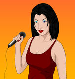 Karaoke. Singing Girl in Karaoke Club Stock Images