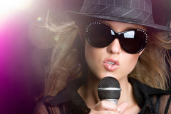 Karaoke Singing Woman Royalty Free Stock Images