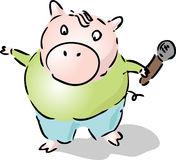 Karaoke superpig Royalty Free Stock Images
