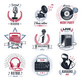 Karaoke Vintage Logos Set Royalty Free Stock Photo