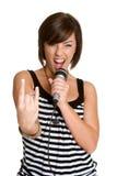 Karaoke Woman Stock Photo