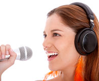 Karaoke woman Stock Photo