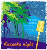 Karaokenatt, abstrakt illustration av en mikrofon och dansare Royaltyfri Fotografi