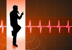 Karaokesänger auf musikalischem rotem Hintergrund Stockfoto