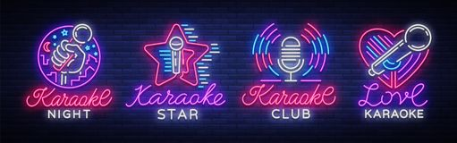Karaokeuppsättning av neontecken Samlingen är en ljus logo, ett symbol, ett ljust baner Annonsering av den ljusa nattkaraokestång stock illustrationer