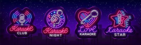 Karaokeuppsättning av neontecken Samlingen är en ljus logo, ett symbol, ett ljust baner Annonsering av den ljusa nattkaraokestång royaltyfri illustrationer