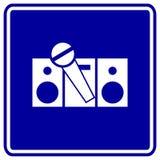 Karaokezeichenstereolithographie und Mikrofonvektor Stockfotos