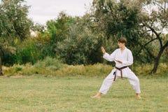 Karatè di pratica del giovane adolescente su un fondo del parco Concetto di tecnica di combattimento Copi lo spazio Fotografia Stock Libera da Diritti