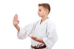 Karaté do esporte da arte marcial - menino adolescente da criança no perfurador e no bloco brancos do treinamento do quimono imagem de stock royalty free