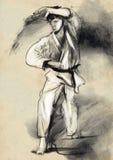 Karaté - illustration (calligraphique) tirée par la main Images stock