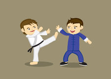 Karaté japonês contra o chinês Kung Fu Vetora Illustration Imagem de Stock Royalty Free