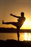 Karaté sur le coucher du soleil Photographie stock libre de droits