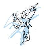 Karate λάκτισμα διανυσματική απεικόνιση