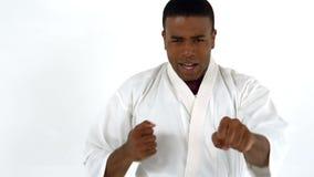 Karate άσκησης ατόμων απόθεμα βίντεο