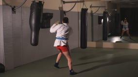 Karate ατόμων έχει ένα πόδι αχλαδιών απόθεμα βίντεο