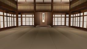 Karate η τρισδιάστατη ζωντανεψοντη απεικόνιση Dojo μετακινείται τον πυροβολισμό διανυσματική απεικόνιση
