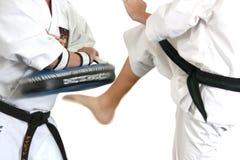 karate θαμπάδων κίνηση λακτίσματ Στοκ Φωτογραφίες