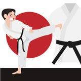 Karate διανυσματικά κινούμενα σχέδια αθλητικού αθλητισμού Στοκ Φωτογραφίες