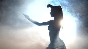Karate κορίτσι μαύρα σκιαγραφία Backlight απόθεμα βίντεο