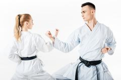 karate μαχητές που παρουσιάζουν φραγμό με τα χέρια στοκ εικόνες με δικαίωμα ελεύθερης χρήσης