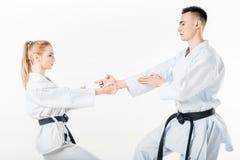 karate οι μαχητές που στέκονται μέσα θέτουν στοκ εικόνες