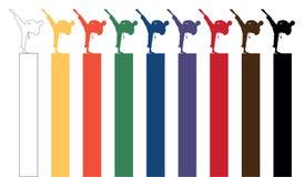 Karate σκιαγραφίες διανυσματική απεικόνιση