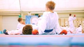 Karate τα παιδιά στο άσπρο κιμονό και τα γάντια βάζουν στα χαλιά απόθεμα βίντεο