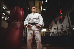 Karate φορέας που δένει τη ζώνη του στοκ φωτογραφίες