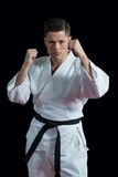 Karate φορέας που εκτελεί karate τη θέση στοκ εικόνα