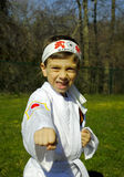 Karate. Child Practicing Karate Outdoors Royalty Free Stock Image