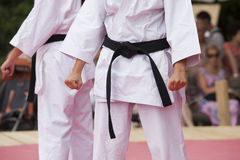 Karate. Is a striking art using punching, kicking, knee strikes, elbow strikes and open hand techniques Stock Photography