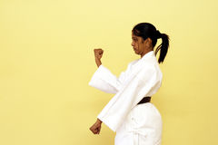 Karate. An indian young woman practising karate moves Stock Photography