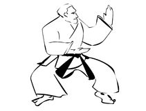 Karate. Illustration of a man demonstrating karate Royalty Free Stock Photography