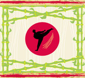 Karate - abstract card, bamboo frame. Illustration Stock Image
