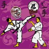 Karate area. Two kids fight with karete judo kung fu royalty free illustration