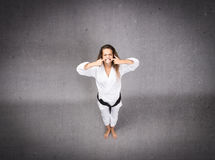 Karate athlete made stupid face Stock Photo