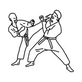 Karate athletes - vector illustration sketch hand drawn with bla. Ck lines, isolated on white background Royalty Free Stock Photography