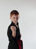 Karate in the attack Stock Photography