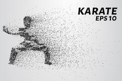 Karate av partiklar Karate består av små cirklar också vektor för coreldrawillustration Arkivbild