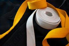 Karate beginner's belts Royalty Free Stock Images