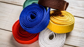 Karate belts royalty free stock photos