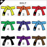 Karate belts poster. Vector. Stock Images