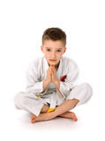 Karate boy. Isolated on a white background Stock Photography