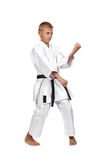 Karate boy  with black belt Royalty Free Stock Photography