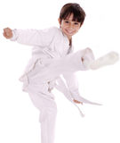 Karate boy excercising royalty free stock photography