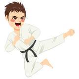 Karate Boy Jump Stock Photo