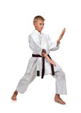 Karate boy in kimono Royalty Free Stock Photo